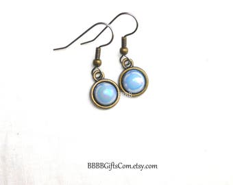 Light Blue Iridescent Pearl Drop Earrings Acrylic Colored Pearls on Antiqued Bronze Bezel with Surgical Steel French Hooks