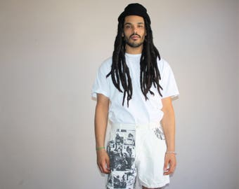 1990s Black and White Vintage Photography Movie Stars Graphic Novelty Denim Shorts - 90s White Jean Shorts - 90s Clothing - MV0185