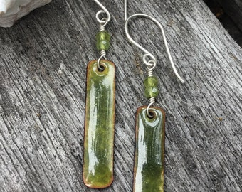 Hand Made Enamel Drop Earrings, Torch Fired Enamel, Sterling Silver, Nature Inspired