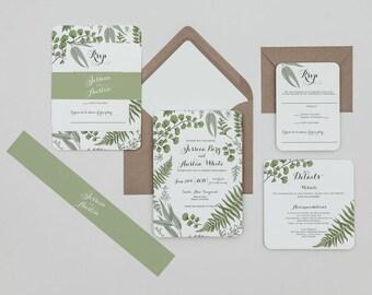 Rustic Greenery Wedding Invitation Set ,Vintage Greenery Wedding Invite,Rustic Woodland Wedding Invitations,Modern Greenery Spring Wedding