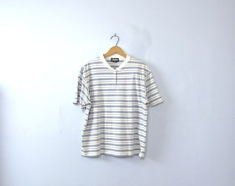 Vintage 90's striped tee, striped shirt, white and blue top, women's size large