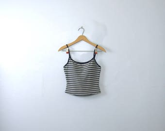 Vintage 90's striped cropped tank top, navy and white cami, size medium / 8