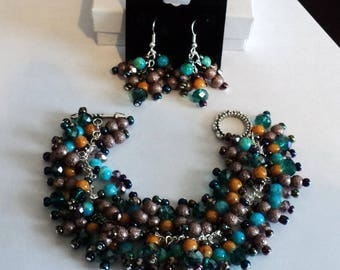 Boho Jewelry Set, Boho Jewelry, Gypsy Jewelry, Cha Cha Bracelet, Dangle Earrings, Turquoise and Brown, Shabby Chic Jewelry - GYPSY DREAMS