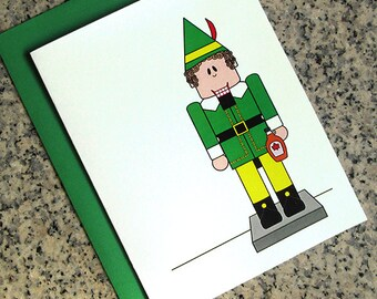 Buddy the Elf with Maple Syrup Nutcracker Christmas Holiday Cards, Notecards, Thank You Notes (Blank or Custom Text) & Envelopes - Set of 10