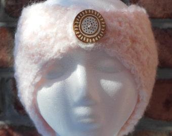 Pink Angora Wide Headband or Ear Warmers