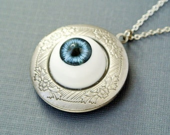 Dark Blue Eyeball Locket, Eyeball Locket Necklace, Eyeball Photo Locket Jewelry, Halloween Jewelry Necklace, Halloween Locket