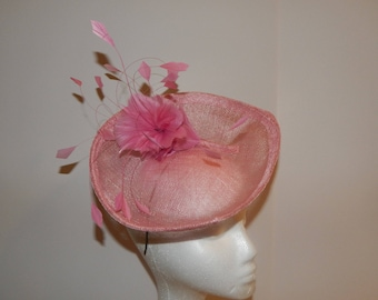Pink Sinamay Saucer with Feathers