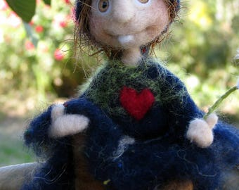 Art doll, fantasy doll, Woolen doll, spook, bogeyman, bogey, mobile, nursery decor, halloween decoration, needle felted, felted doll