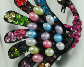 Colorful Peacock Cocktail Ring/Rhinestone/Pearl/Statement Ring/Big/Gift For Her/Spring Jewelry/Bird Lovers/Adjustable/Under 20 USD