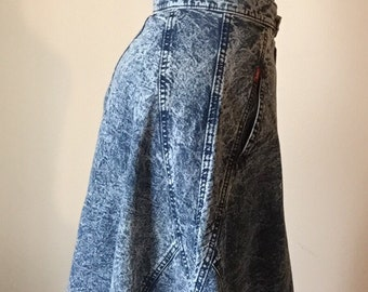 acid wash aline high waist denim 80s vintage midi tea length below the knee jean skirt new wave hipster unique long small S medium M 26 9 10