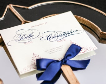 "Pink and Navy Ceremony Programs, Fan Programs, Formal Event, Navy Blue Stationery, Scroll Design - ""Delicate Filigree"" Fan Program - DEPOSIT"