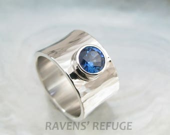 hand forged engagement ring, platinum and blue sapphire -- by Ravens' Refuge