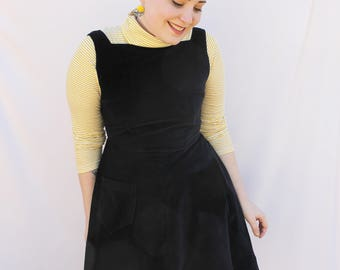 Black Velvet Pinafore - Handmade by Alice!