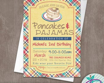 Pancakes & Pajamas Invitation, Pancakes and Pajamas Birthday Party Invitation, Printable Invite