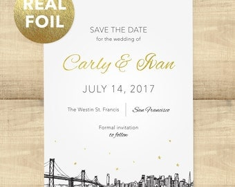 "Gold or Silver Foil Skyline save the date, available in 20+ skylines, ""Foil City Skyline Stars""; SAMPLE ONLY"