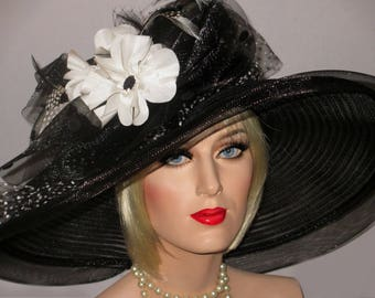 POPPIES And POLKA DOTS- Black Sheer Mesh Kentucky Derby Hat, Black And White Derby Hat, Extra Wide Brim Hat, Downton Abby Hat, High Tea Hat