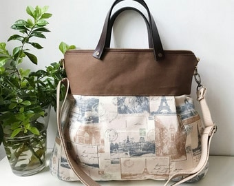 2 way Cross Body Bag /Fall Messenger Bag / Diaper bag / Handbag / Tote / Leather straps / Women messenger / Travel bag