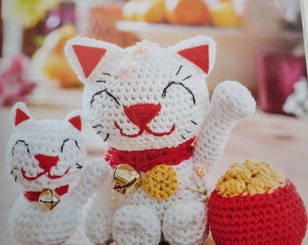 Lucky cats amigurumi and pot of gold PDF crochet pattern
