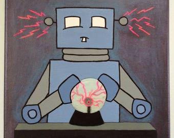Robot of Leisure: The Effects of Plasma on Mid-Century Robotics - original artwork - acrylic on canvas