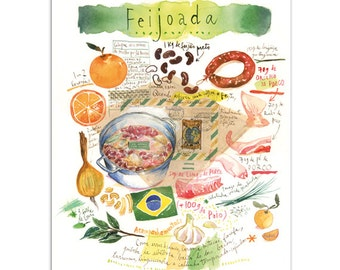 Feijoada, Brazilian food print, Illustrated recipe, Kitchen decor, Brazil art, South America, Watercolor painting, Food artwork, Portuguese