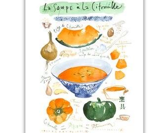 Pumpkin soup illustrated recipe watercolor painting, Orange Kitchen art, Home decor, Food artwork, Squash soup, Vegetable illustration print