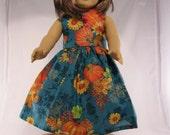 Fall teal and pumpkin print dress fits 18 inch dolls like american girl