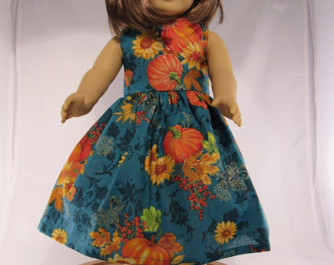 Fall teal and pumpkin print dress fits 18 inch dolls