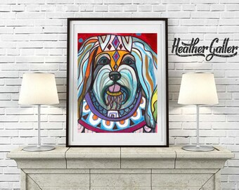 DIGITAL Print File - Havanese art dog Poster Print of painting by Heather Galler (HG510)