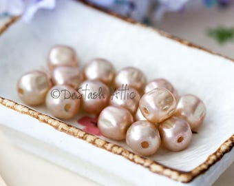 Vintage Glass Pearls Pale Pink Miriam Haskell Baroque Glass Pearl Beads from Japan 10mm