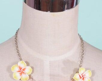 Tiki Bright Yellow and Orange Frangipani Tropical Necklace