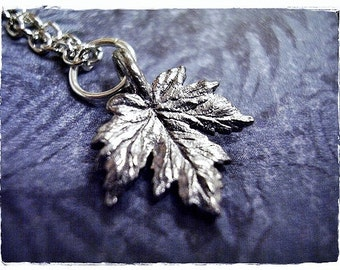 Silver Maple Leaf Necklace - Antique Pewter Maple Leaf Charm on a Delicate Silver Plated Cable Chain or Charm Only