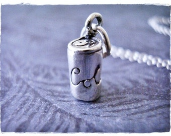Tiny Cola Necklace - Sterling Silver Cola Charm on a Delicate Sterling Silver Cable Chain or Charm Only