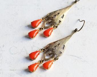 Orange Drop Earrings,  Brass Filigree and Orange Dangle Earrings, Rhinestone Chandelier Earrings, Orange Earrings, Boho Chic Jewelry