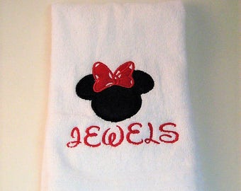 Disney Mickey Mouse Personalized Hand Towel   Applique Mickey Or Minnie  Mouse Bathroom Towel   Custom