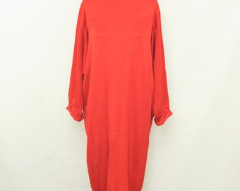 Vintage 80s Azzedine Alaia Red Knit Batwing Dress Boat Neck Slouchy Dress Size Small
