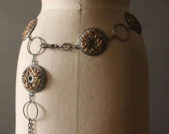 Vintage 70's Bohemian Pebble Stone Chain Belt