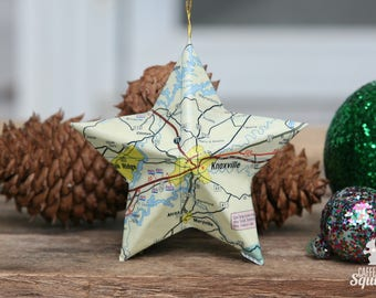 Knoxville Tennessee Vintage Map Covered Star Ornament Tn Home Decor East