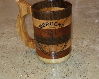 Handcrafted EMS Wood Mug, Trio of Wood 20 oz, Wood Beer Stein, Wood Tankard, Emergency Medical Services, Beer Mug, Walnut, Hickory, Mahogany