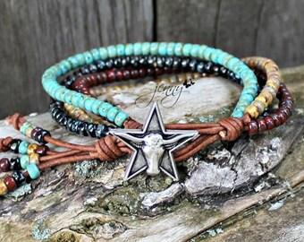 Leather Wrap Bracelet For Women , Beaded Wrap Bracelet, Leather Wrap Bracelet, Womens Leather Bracelet, Mens Leather Wrap Bracelet