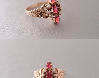 antique Victorian 10k Rose Gold Ruby Red 3 stone Pearl Marquise Ring ... size 6