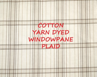 1 YARD, Light Brown White, Yarn Dyed Windowpane Plaid, Summer Shirting, Wide Fashion Fabric, Lightweight Cotton, B21