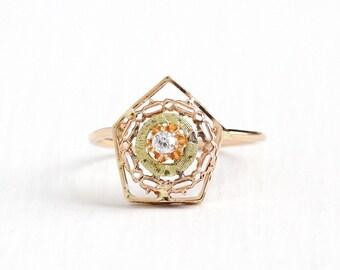 Sale - Antique Edwardian 10k Rose Yellow Gold Diamond Stick Pin Conversion Ring - Size 6.5 Vintage Filigree Target Flower Ring Fine Jewelry
