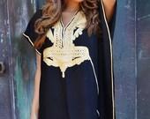 PREXMAS SALE 10% OFF Trend Finds | Black & Gold Marrakech Resort Caftan Kaftan-beach cover up,resortwear,loungewear,maxi dresses, birthdays,