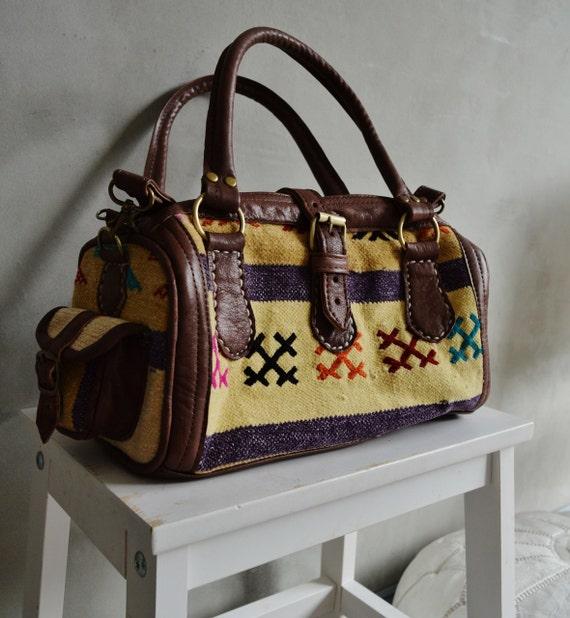 Trendy Winter Finds Berber Design Kilim Leather Satchel Cross Shoulder Straps Berber style-bag, tote, handbag, purse, gifts
