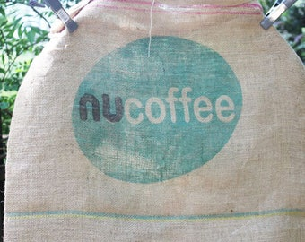 Vintage Burlap Coffee Bag, Nu-Coffee and Cafes do Brasil, Double sided print, Heavy Weight Jute Woven Brazil Coffee bag