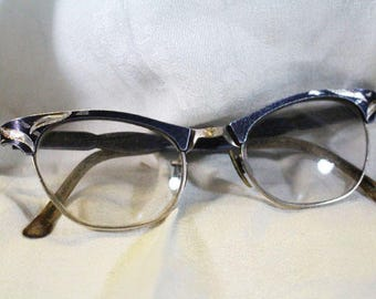 Black Frame Cat Eye Glasses with Silver, Vintage Frames  -  S