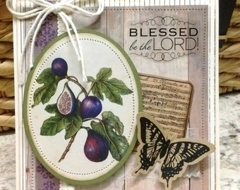 Fig Tree Religious Wedding / Anniversary Card - Blessed Be the Lord - ART CARD - Naturalist Style