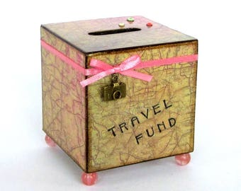 Travel Coin Bank Vintage Style Map Decoupaged Wood Square Vacation Savings Bank Piggy Bank Green Peach