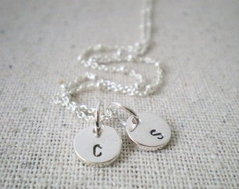 personalized jewelry | 2 initials necklace | hand stamped sterling silver mothers necklace | two initials | kids initials | push present