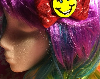Smiley - Teeth - Eyebrows - Shiny Red Hair Bow - Alligator Clip - Hand Painted